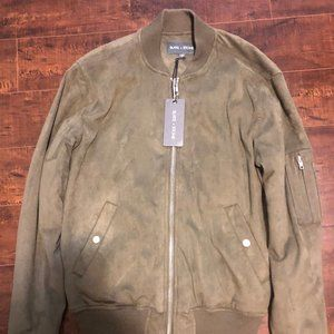 Slate and Stone Olive Green Faux Suede Bomber-NEW